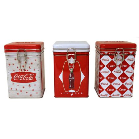 - Tin Box Company Coca-Cola Square Lock-Top 3 Piece Kitchen Canister Set