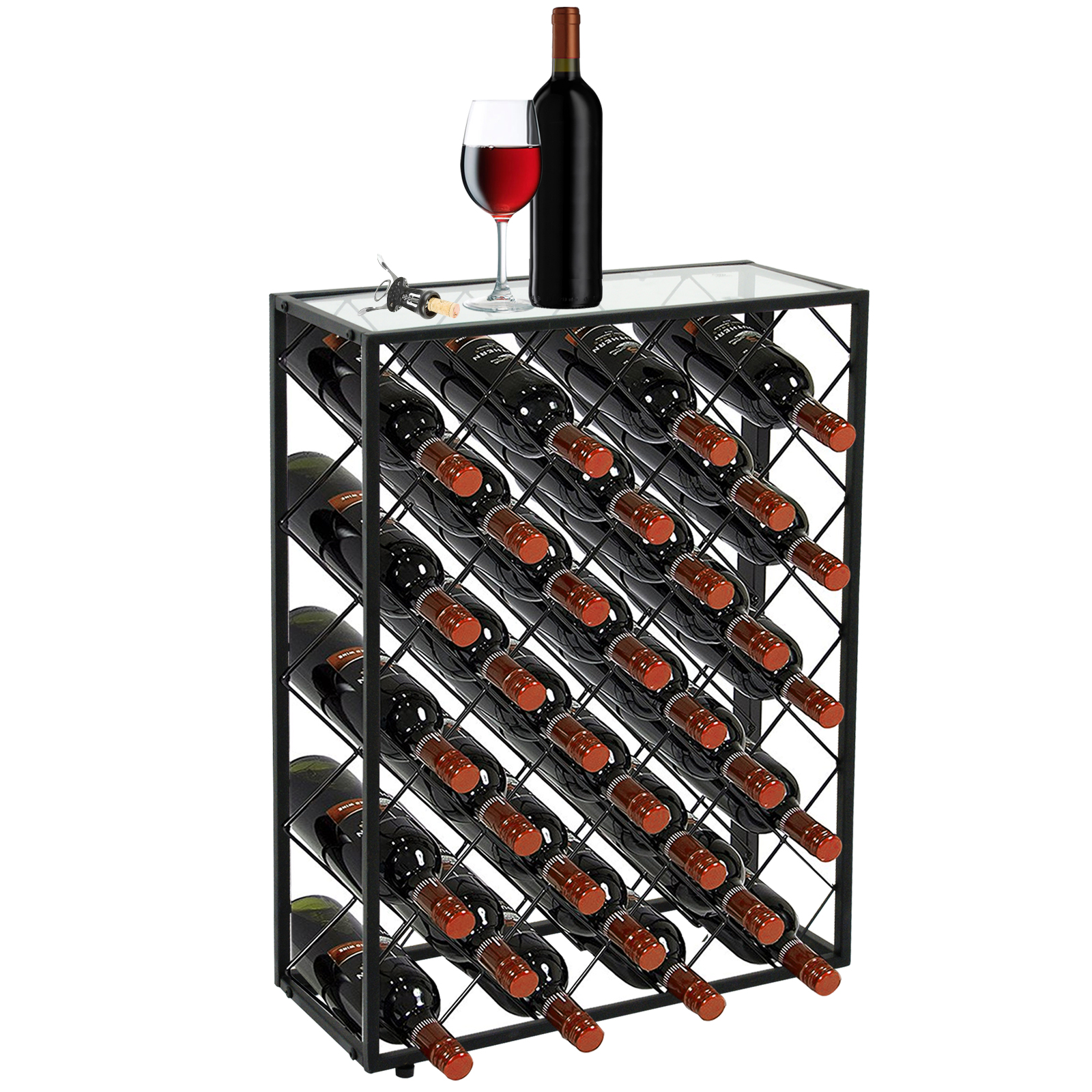 Zeny 32 Bottle Black Steel Wine Rack with Thick Glass Table Top Free Standing Floor Wine Storage Organizer Display Shelves Wobble-Free