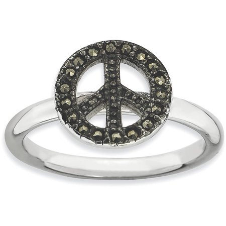 - Marcasite Sterling Silver Peace Sign Ring
