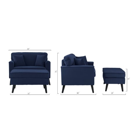 Mid-Century Large Accent Chair with Footrest / Storage Ottoman, Modern, Royal Blue