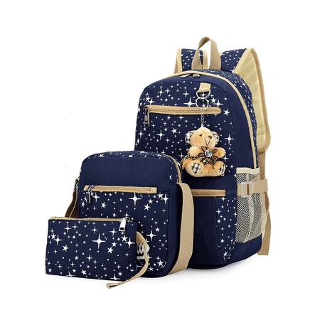 3Pcs/Sets Backpacks for Teenage Girls for School, Canvas Backpacks for Girls Scatchel Rucksack Backpacks for Middle School, Causual Backpack for Traveling