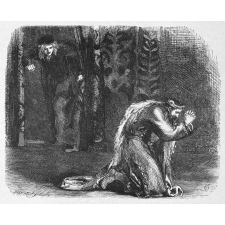 Shakespeare Hamlet Nhamlet Watching King Claudius At Prayer After The LatterS Hasty Exit During A Performance Of The Mouse-Trap (Act Iii Scene Ii) Wood Engraving After Sir John Gilbert 1881 Rolled