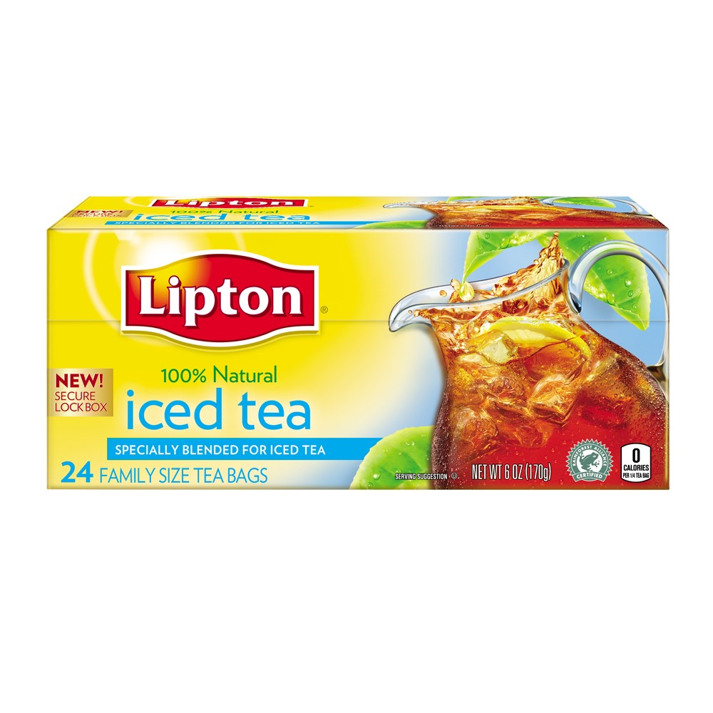 (4 Boxes) Lipton Unsweetened Family Black Iced Tea Bags 24 ct