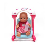 """WonderPlay Pretty in Pink! Mini Baby Playset With Rocking Swing & 12"""" Baby Doll With Sound/& Sound 10 Sounds - Pink"""