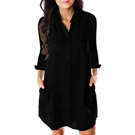 Women V Neck Turn Down Collar Long Sleeve Button Down Pocket Casual Shirt Midi Dress