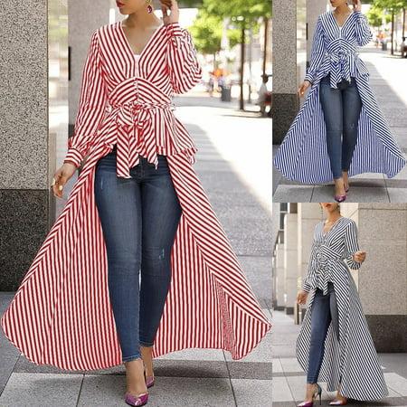 Womens Fashion Long Sleeve V-neck Striped Tunic Tops Casual Curve Bottom Blouse (20s Women's Fashion)