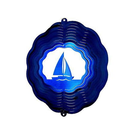 "12"" Sailboat Wind Spinner in Blue Starlight chimes sock patio garden porch thumbnail"
