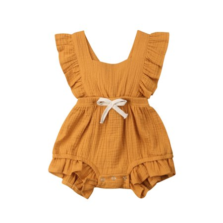 Infant  Newborn Toddler Baby Girl Clothes Summer Romper Bodysuits Cotton Ruffle One-Piece Jumpsuit Outfits Sunsuit Girls One Piece Bodysuit