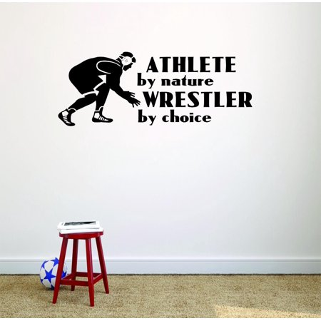 Do It Yourself Wall Decal Sticker Athlete By Nature Wrestler By Choice Wrestling Logo Icon Teen Boys Self Defense Fighting Bedroom 16x32