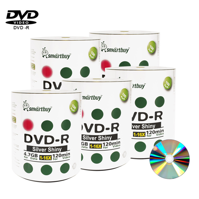 500 Pack Smartbuy 16X DVD-R 4.7GB 120Min Shiny Silver (Non-Printable) Data Blank Media Recordable Disc