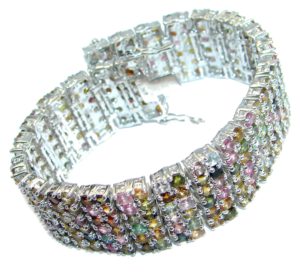 Special design Natural Round 3 Mm Fancy Tourmaline 925 Silver Big Bracelet 7 Inch long by SilverRush Style by