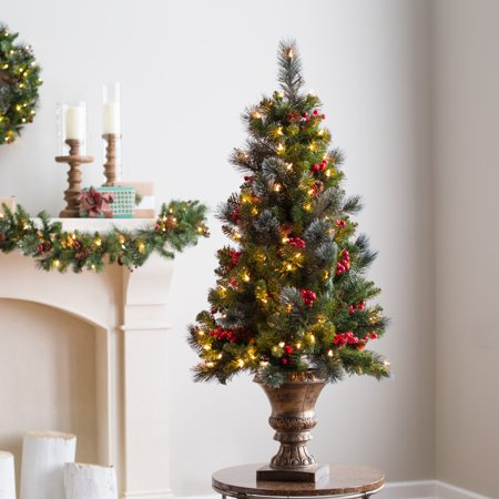 National Tree Pre-Lit 5' Crestwood Spruce Entrance Artificial Christmas Tree with Silver Bristle, Cones, Red Berries and Glitter in a Plastic Bronze Pot with 150 Clear Lights ()