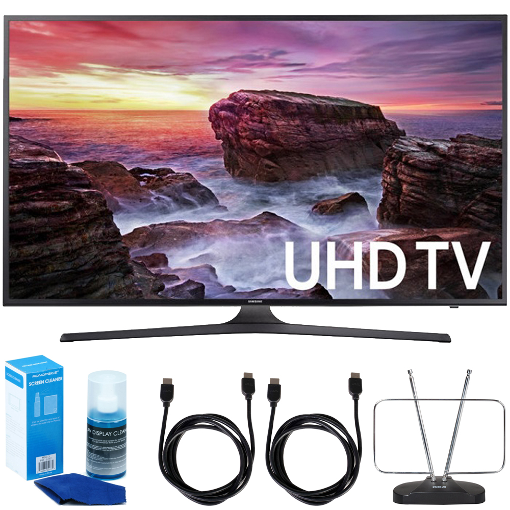 """Samsung UN65MU6290FXZA Flat 64.5"""" LED 4K UHD 6 Series Smart TV (2017 Model) + 2x 6ft High Speed HDMI Cable + Universal Screen Cleaner + Durable HDTV and FM Antenna"""