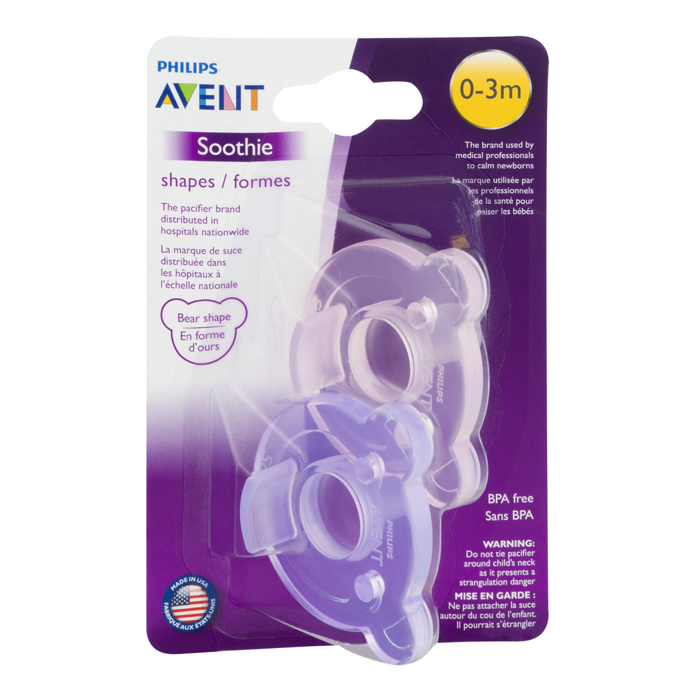 Philips Avent Soothie Shapes Pacifiers, 0-3 Months, Purple/Pink - 2 Counts