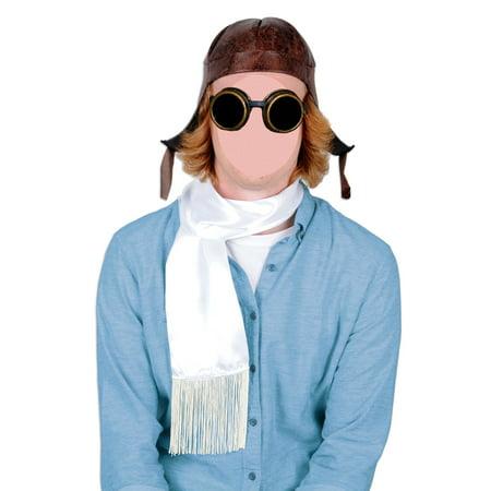 Brown Aviator Helmet White Scarf Copper Steampunk Goggles Costume - Aviator Goggles Costume