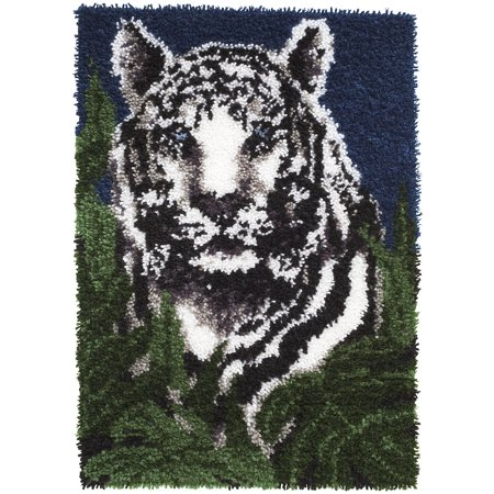 Caron Wonderart Latch-Hook Kit, White Tiger