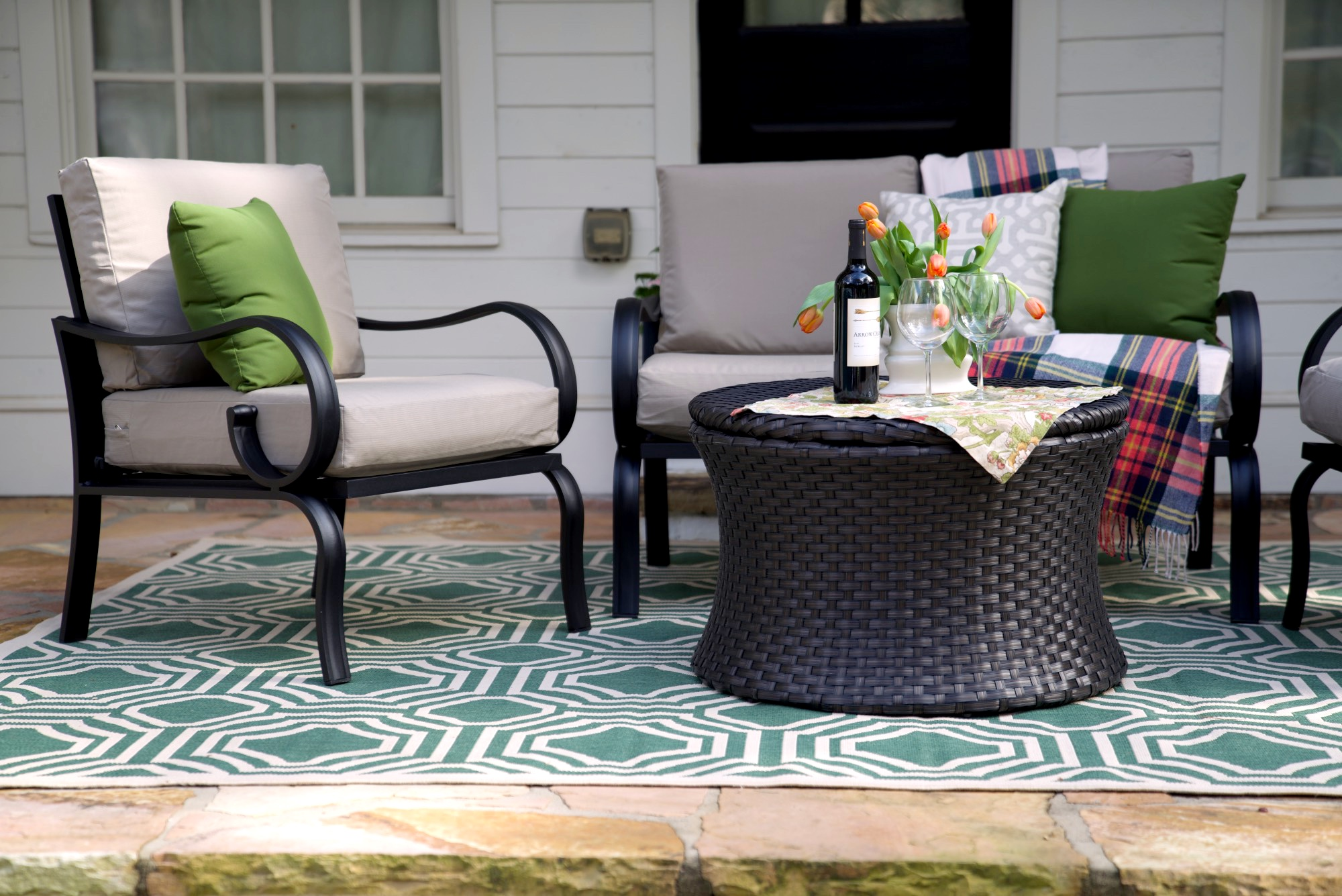 Savannah 4pc Outdoor Wicker Chat Set by SE Brands Inc.