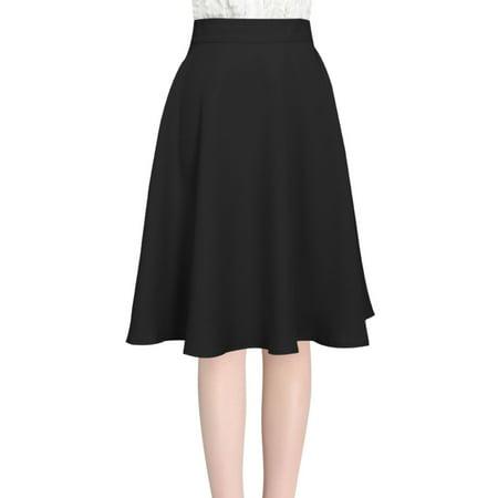 Sleeve Full Skirt (Women's High Waist Midi Full Skirt Black (Size XL / 16) )