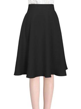 Allegra K Women's High Waist Midi Full Skirt Black (Size M / 8)