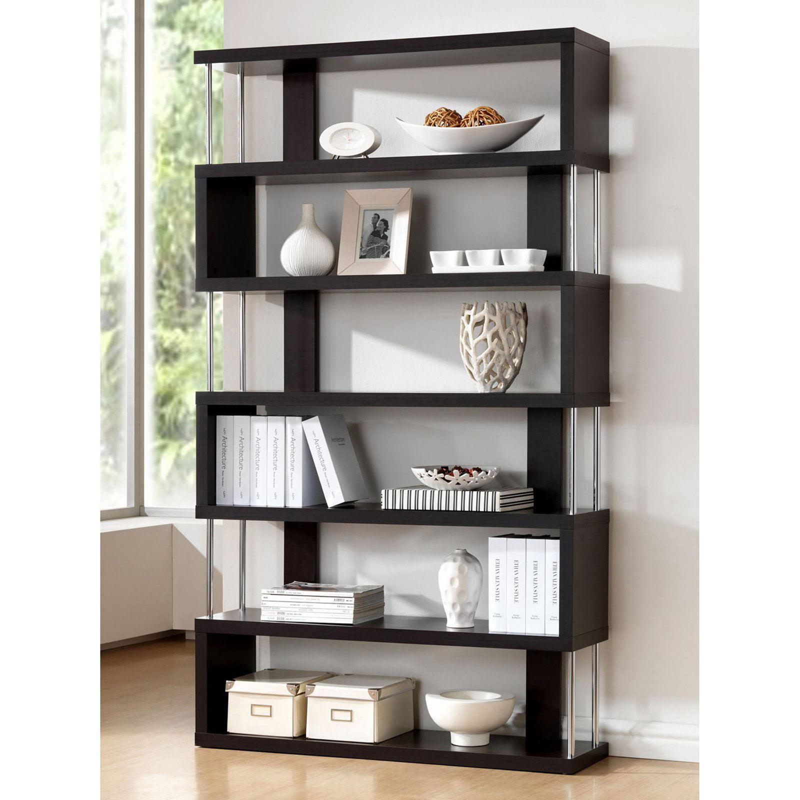 Barnes Dark Brown 6-Shelf Modern Bookcase