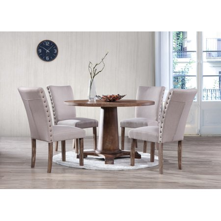 Best Master Furniture Carey 5 Pcs Antique Natural Oak Round Dining