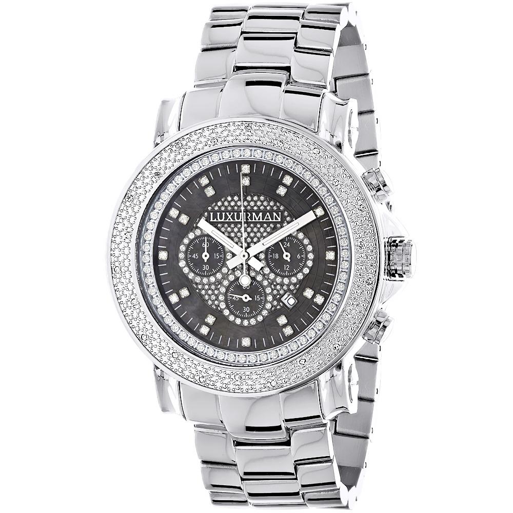 Mens Diamond Oversized Watch 0.25ct Black MOP LUXURMAN Es...