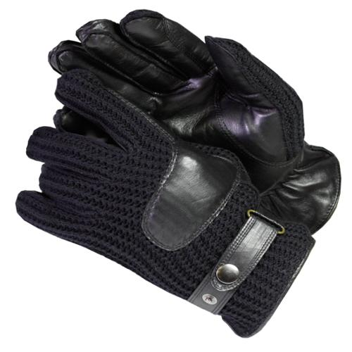 Isotoner Men's Knit and Leather Cold-weather Gloves with Thinsulate Lining Black Medium
