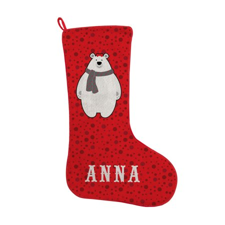 Bear Christmas Stocking.Personalized Pudgy Polar Bear Christmas Stocking Available In 4 Designs