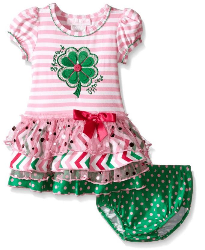 Bonnie Jean baby Girls Green Clover Princess St Patrick's Pink Dress 24 Months