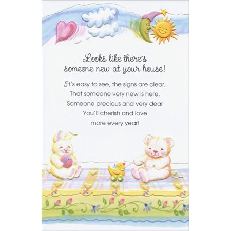Freedom Greetings Bear and Bunny On Blanket: Someone New New Baby Congratulations
