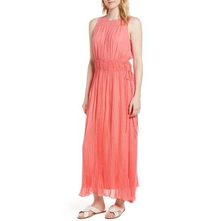 Lewit Pleated Crinkle Silk Maxi Dress, Coral Silk, 14 Pleated Silk Sweater Dress
