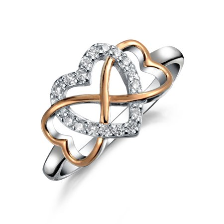 Two Tone Statement Cubic Zirconia Promise Heart CZ Infinity Ring For Teen For Women Rose Gold Plated 925 Sterling Silver