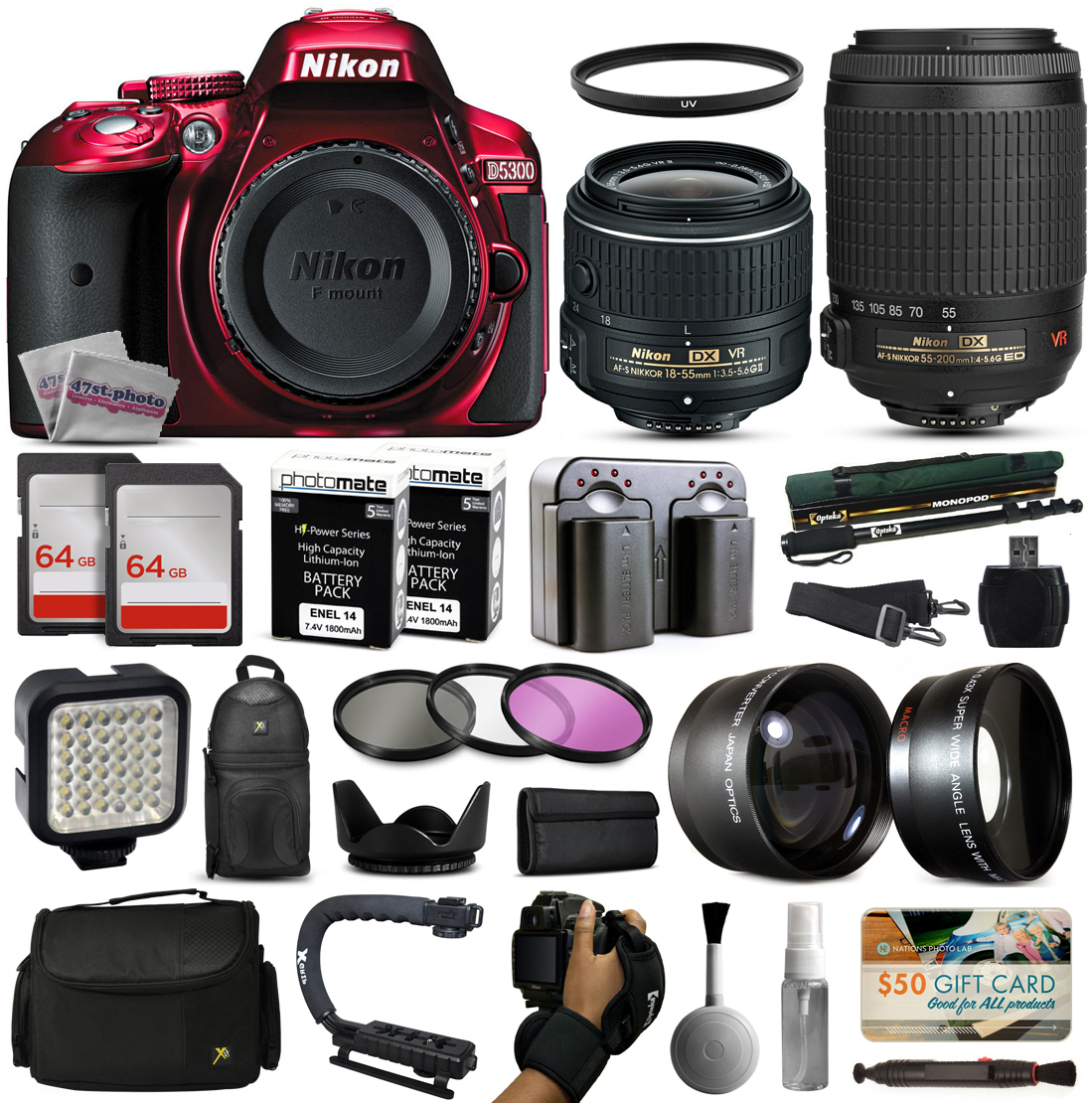 Nikon D5300 Red DSLR Digital Camera with 18-55mm VR II + 55-200mm VR Lens + 128GB Memory + (2) Batteries + Charger + LED Video Light + Backpack + Case + Filters + Auxiliary Lenses + $50 Gift Card