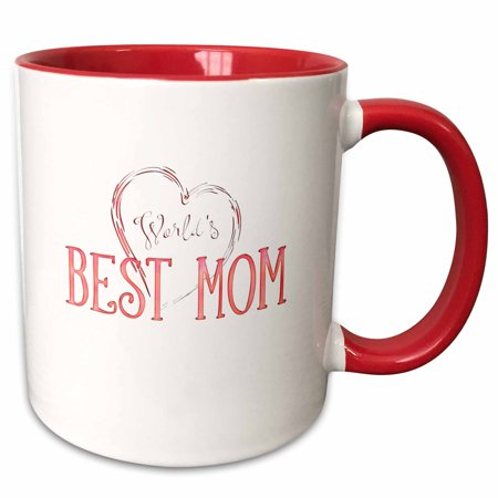 3dRose Worlds Best Mom � Adorable Pink Gift - Two Tone Red Mug,