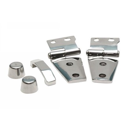 Rampage 87466 Complete Hood Kit; Incl. Hinges/Hood Stops/Footman Loop; Polished Stainless; ()