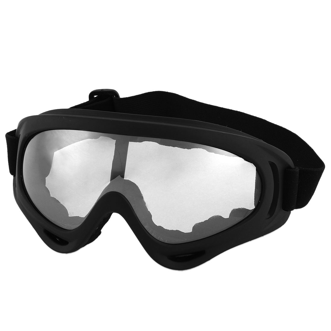 Unisex Black Full Frame Elastic Nylon Motorcycle Glasses Sunglasses