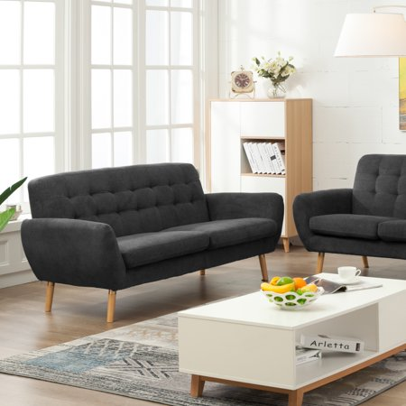 Alice Modern Charcoal Grey Fabric Sofa With Flare Arms