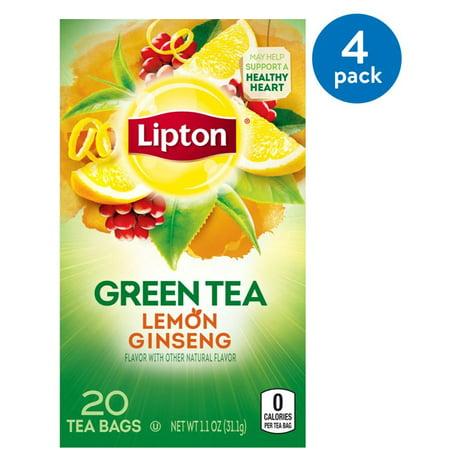 (4 Boxes) Lipton Green Tea Bags Lemon Ginseng 20 ct