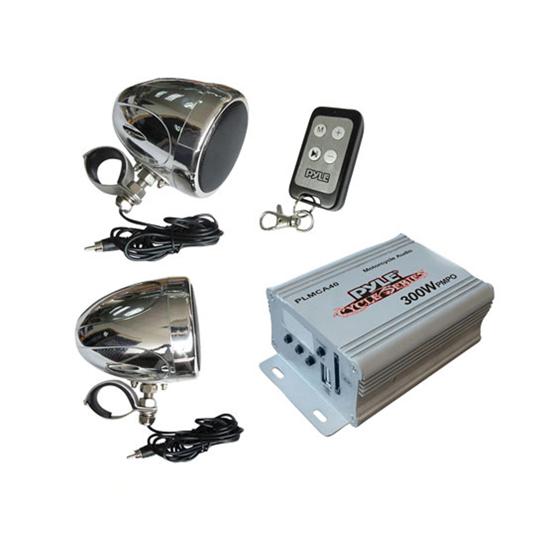Pyle - PLMCA40 - 300 Watts Motorcycle/ATV/Snowmobile Mount MP3/IOS/USB Amplifier with Dual handle-bar Mount Weatherproof speakers With FM Radio