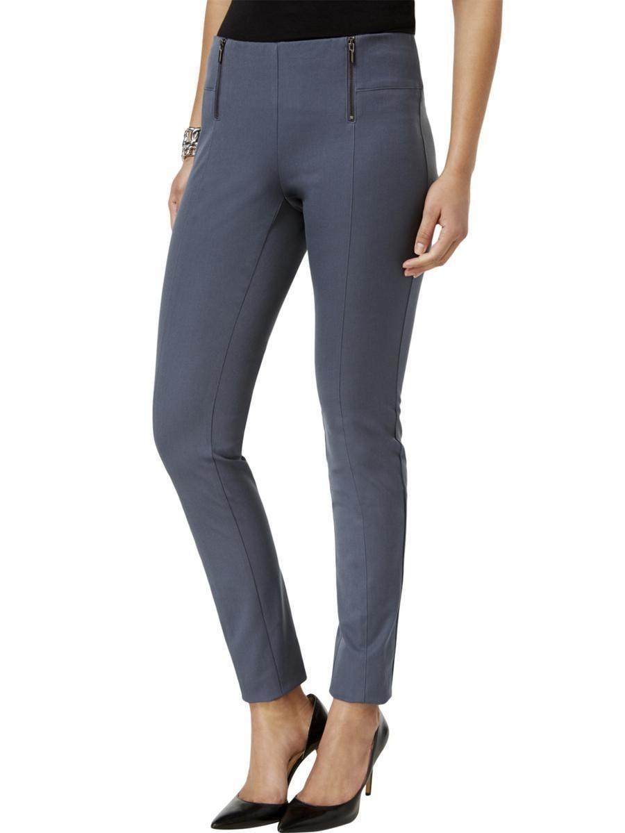 Alfani Petite Double-Zip Skinny Pants Stadium Grey 8P