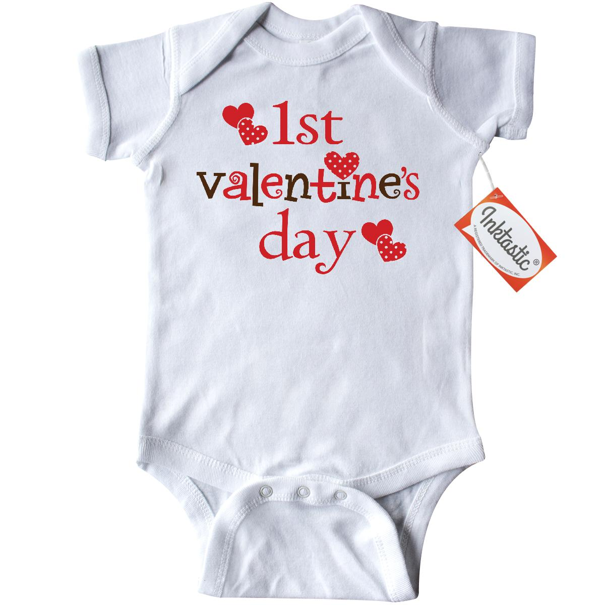Inktastic 1st Valentine Day cute Infant Creeper Baby Bodysuit valentines babys heart love gift idea for one-piece hws