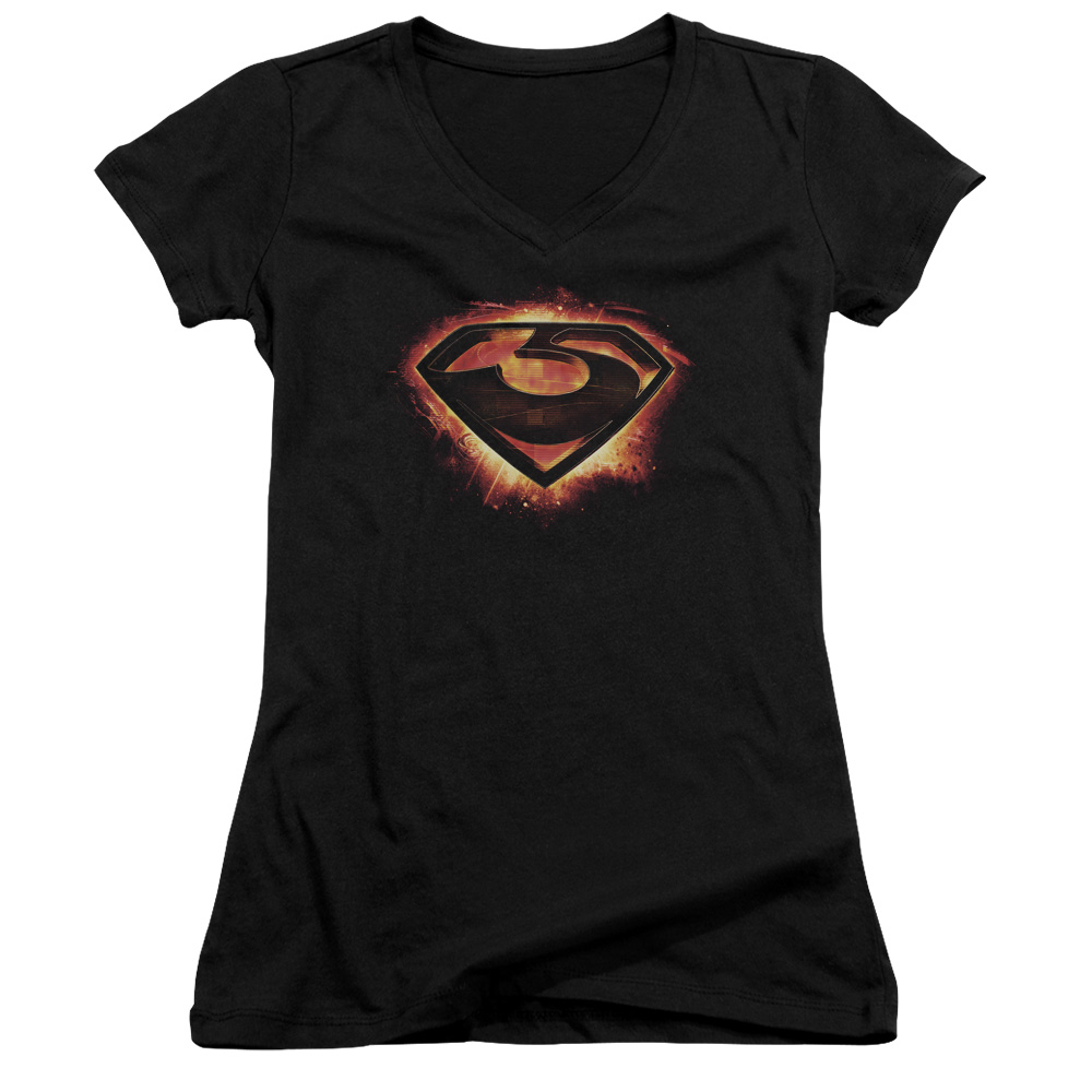 Man Of Steel Superman Movie Glowing Zod Shield Junior V-Neck T-Shirt Tee