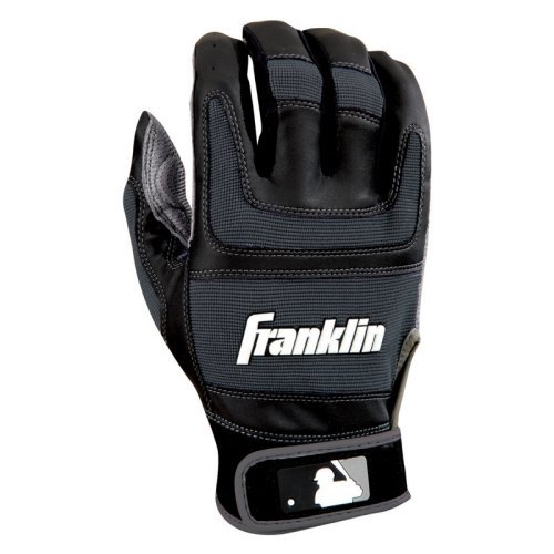 Franklin Sports MLB Youth Shok Sorb Pro Batting Glove, Black and Gun Metal