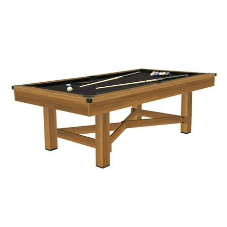 Airzone 88-inch Billiards Pool Table, Black Felt with Stylish Woodgrain Finish - Cues, Balls and Accessories included