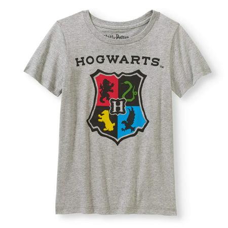 cc3bc250 Harry Potter - Hogwarts Crest Glitter Graphic T-Shirt (Little Girls & Big  Girls) - Walmart.com