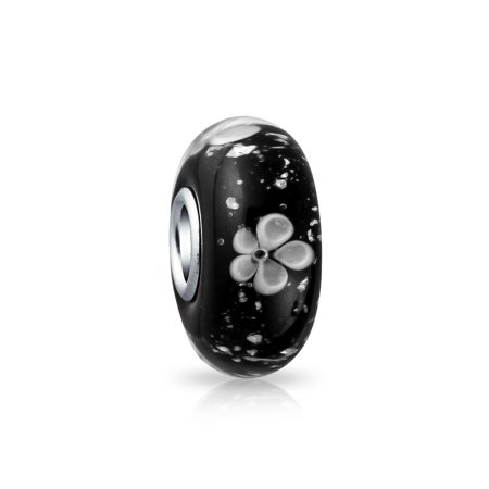 Bling Jewelry Black Flower Sterling Silver Murano Glass Bead Charm Black Cow Charm