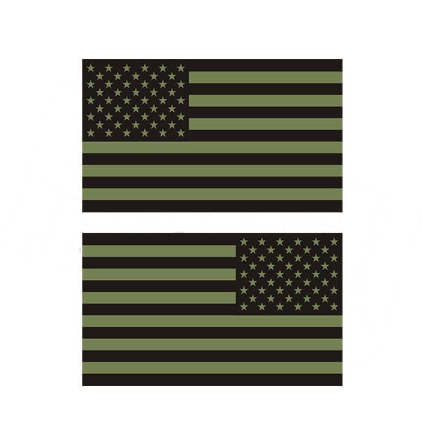"American Green / Black Subdued Flag OD Decal SET 8""x4.8 ..."