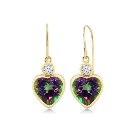5.22 Ct Heart Shape Green Mystic Topaz 14K Yellow Gold Earrings