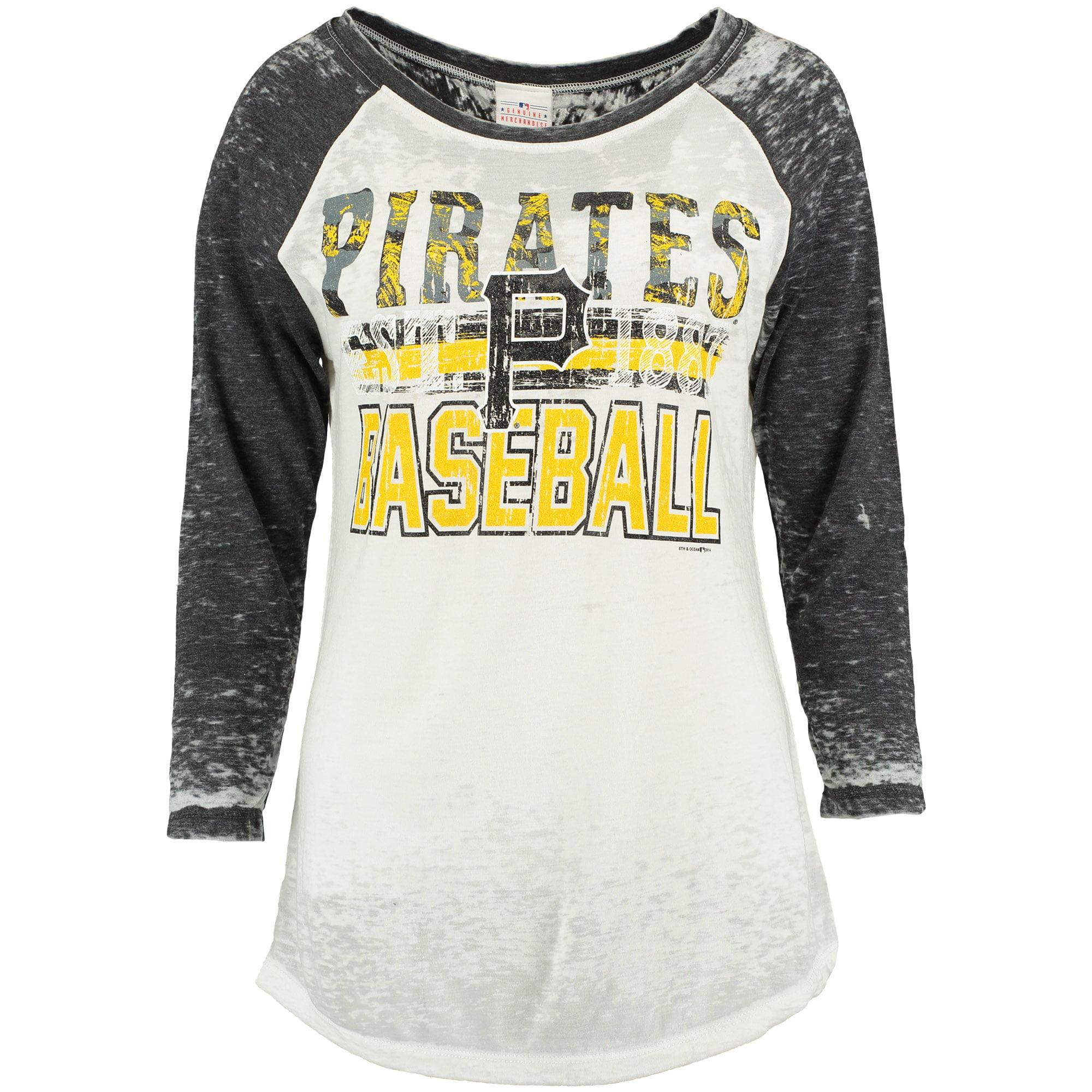 Pittsburgh Pirates 5th & Ocean by New Era Women's First Team Three-Quarter Raglan Sleeve Burnout T-Shirt - White