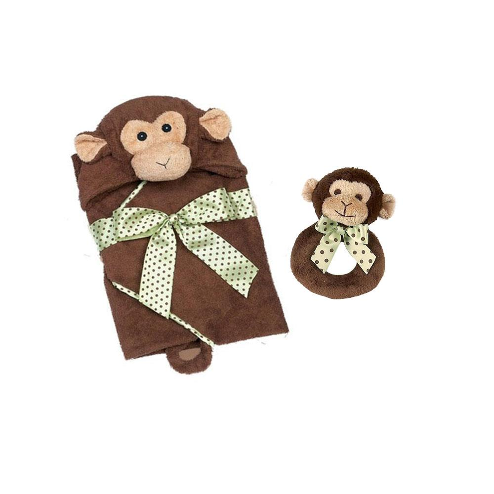 Bearington Lil Giggles Ring Rattle and Hooded Towel by Bearington